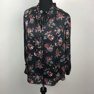 Ann Taylor Semi Sheer Floral Blouse Sz Small
